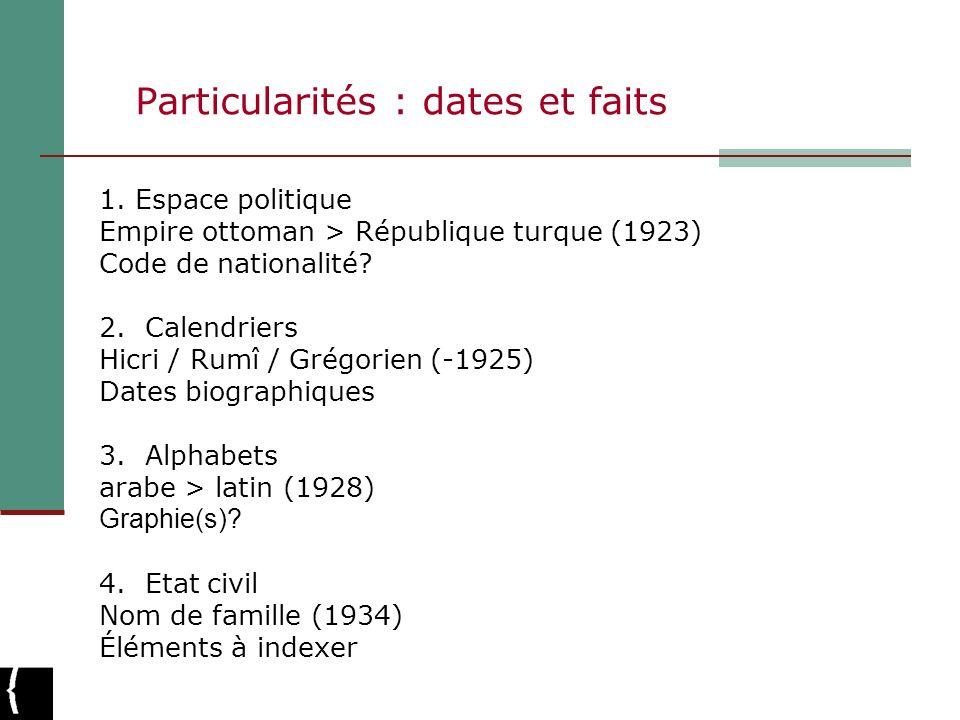 Particularités : dates et faits