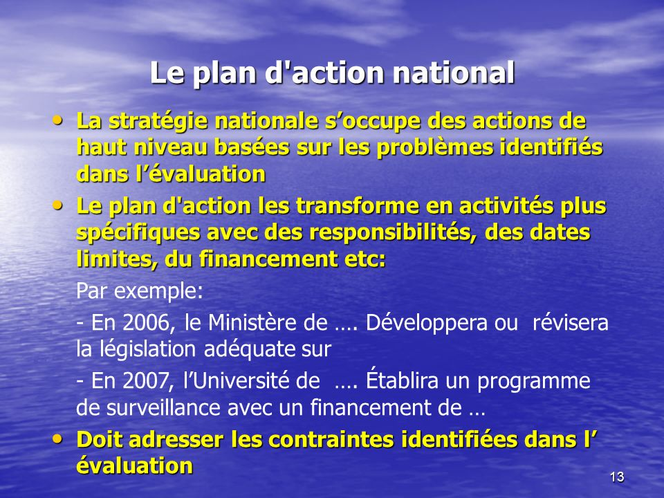 Le plan d action national