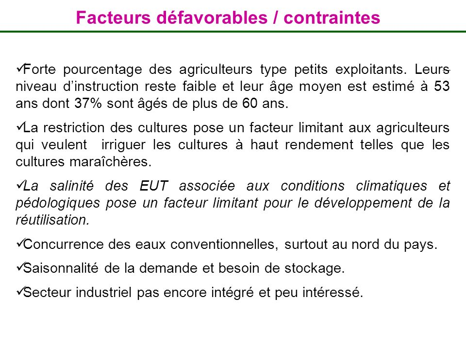 Facteurs défavorables / contraintes
