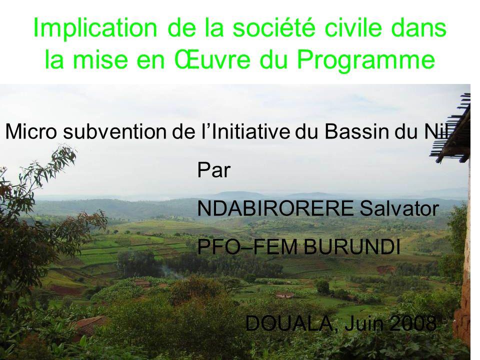 Implication de la société civile dans la mise en Œuvre du Programme