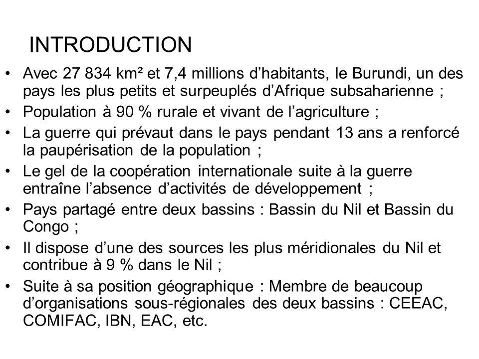 INTRODUCTION Avec 27 834 km² et 7,4 millions d'habitants, le Burundi, un des pays les plus petits et surpeuplés d'Afrique subsaharienne ;