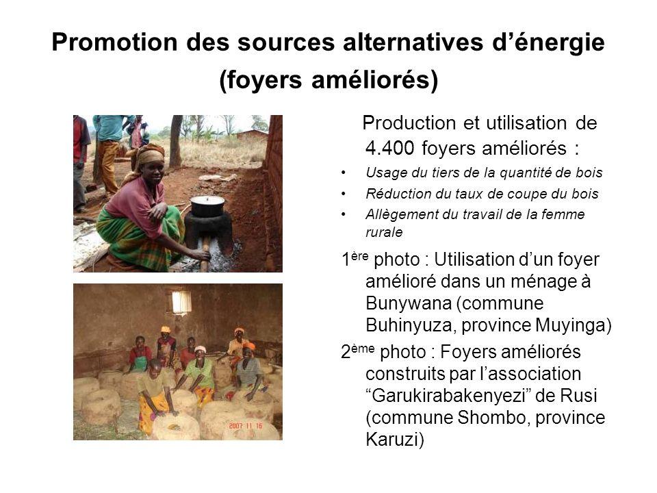 Promotion des sources alternatives d'énergie (foyers améliorés)