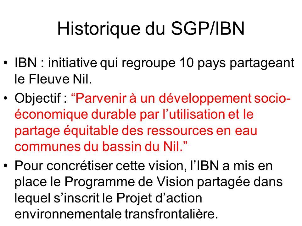 Historique du SGP/IBN IBN : initiative qui regroupe 10 pays partageant le Fleuve Nil.