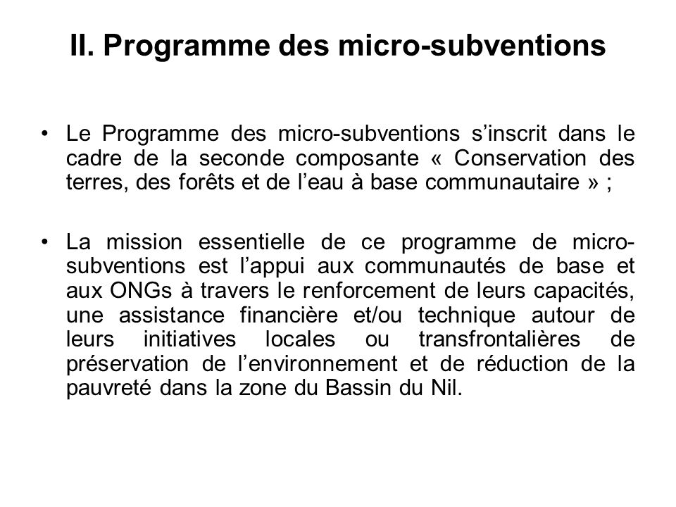 II. Programme des micro-subventions