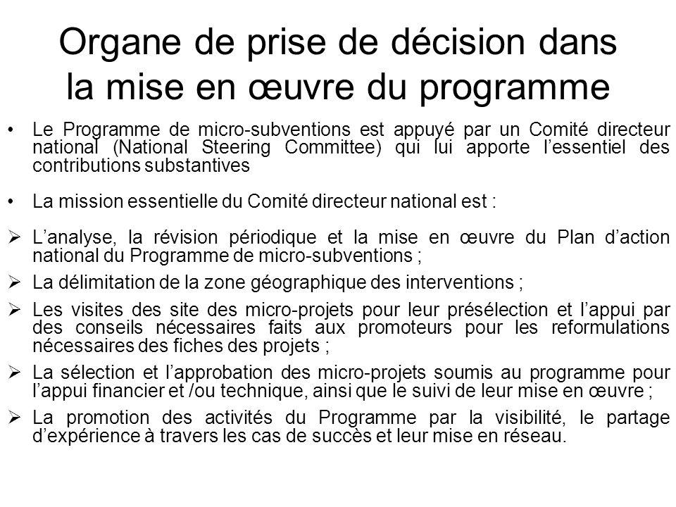 Organe de prise de décision dans la mise en œuvre du programme