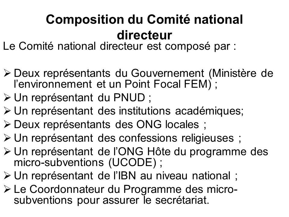 Composition du Comité national directeur