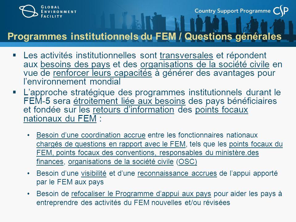 Programmes institutionnels du FEM / Questions générales