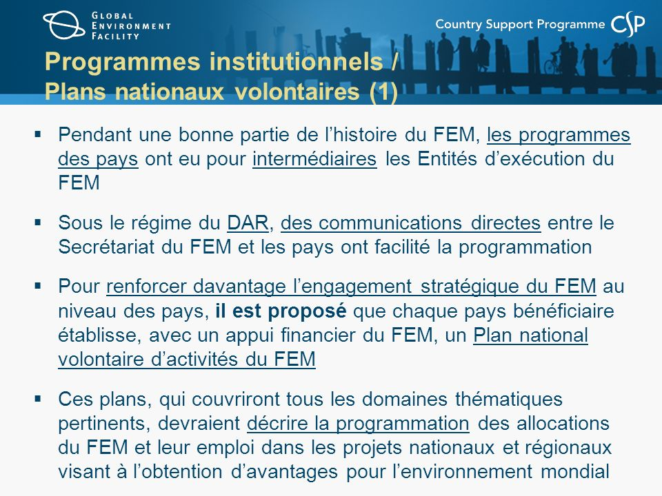 Programmes institutionnels / Plans nationaux volontaires (1)