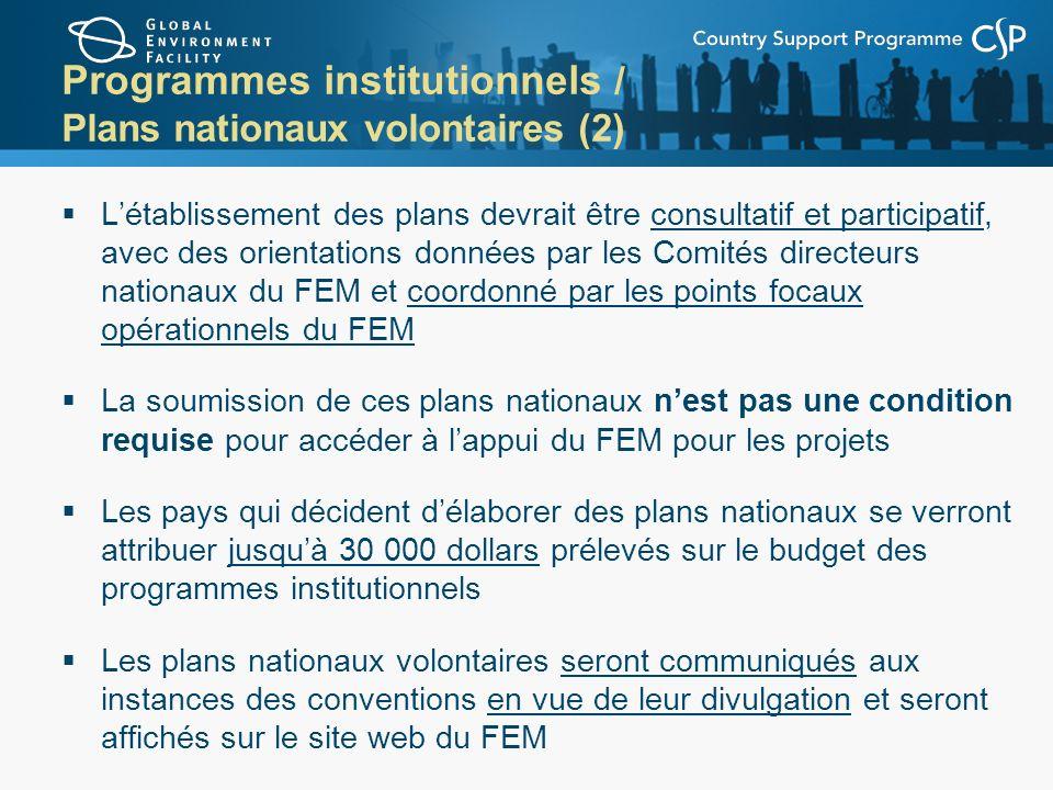 Programmes institutionnels / Plans nationaux volontaires (2)
