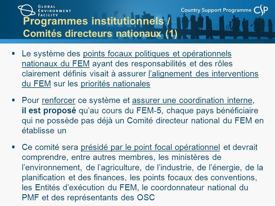 Programmes institutionnels / Comités directeurs nationaux (1)