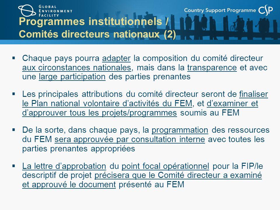 Programmes institutionnels / Comités directeurs nationaux (2)