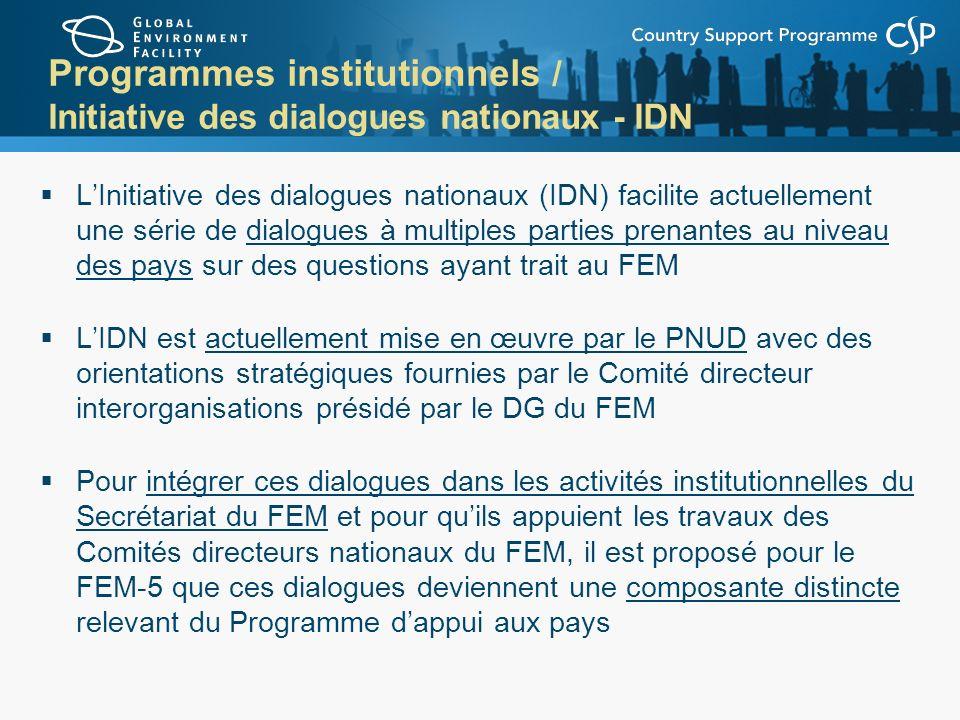 Programmes institutionnels / Initiative des dialogues nationaux - IDN
