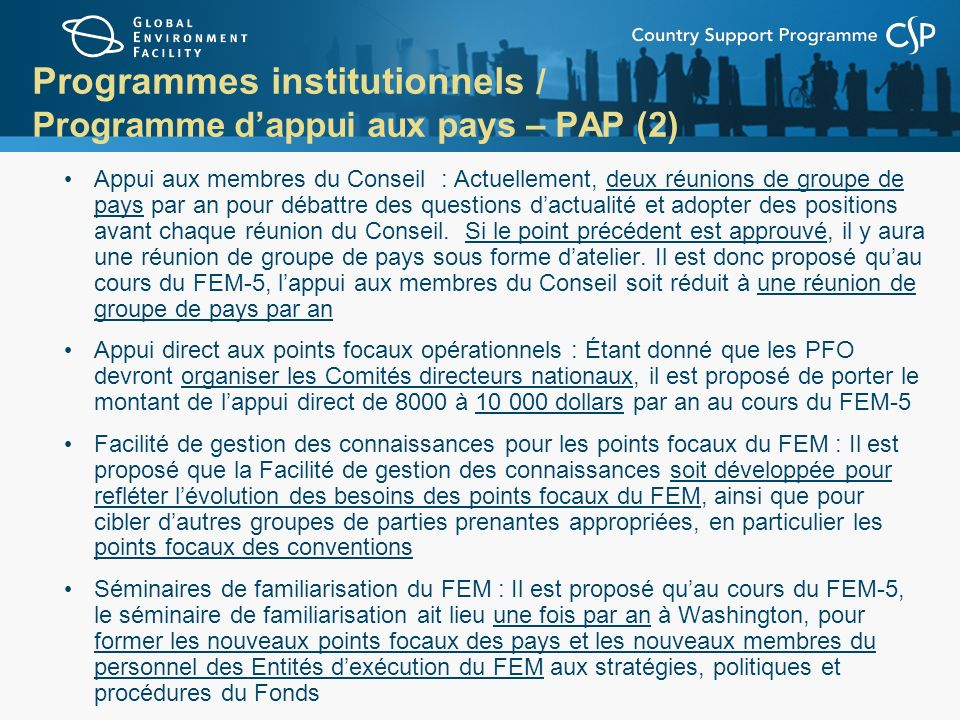 Programmes institutionnels / Programme d'appui aux pays – PAP (2)