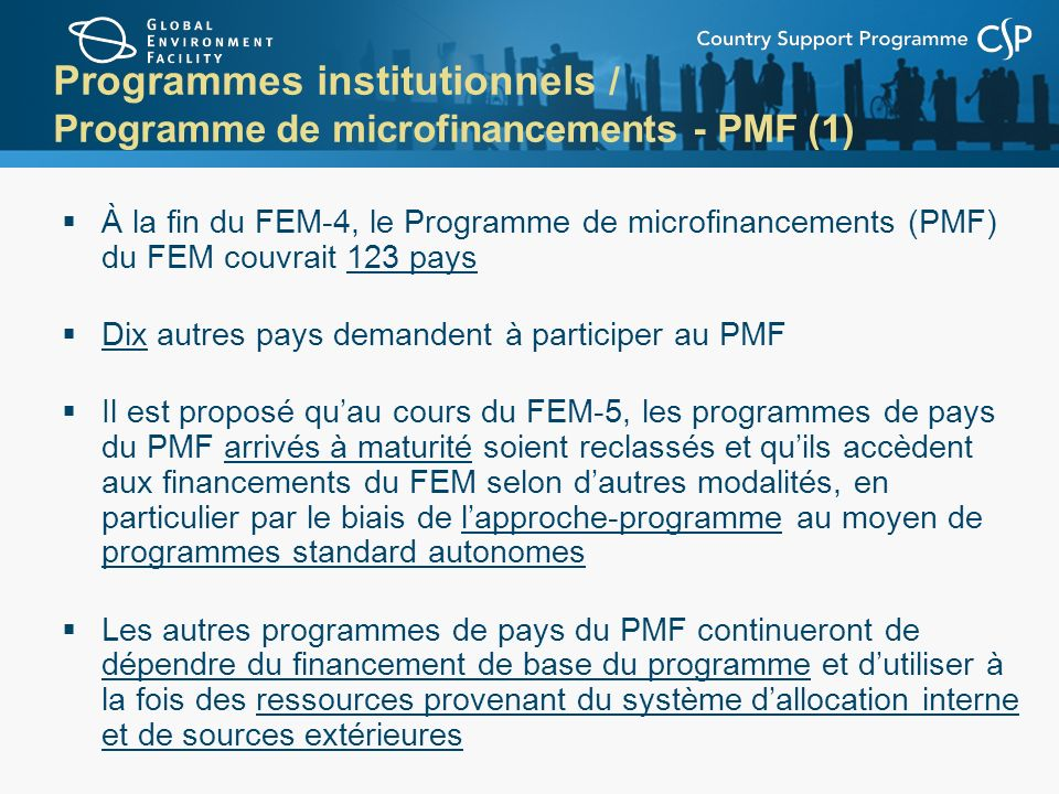 Programmes institutionnels / Programme de microfinancements - PMF (1)