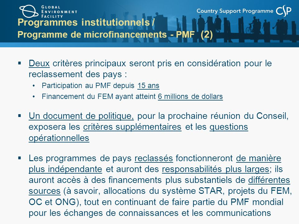 Programmes institutionnels / Programme de microfinancements - PMF (2)