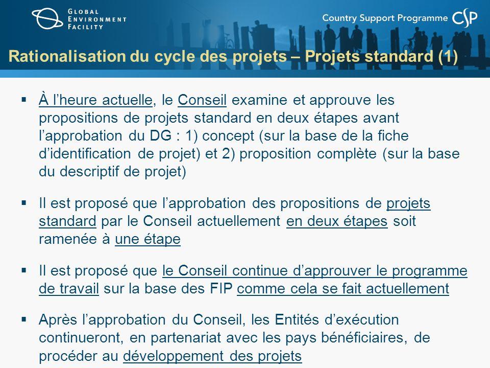 Rationalisation du cycle des projets – Projets standard (1)