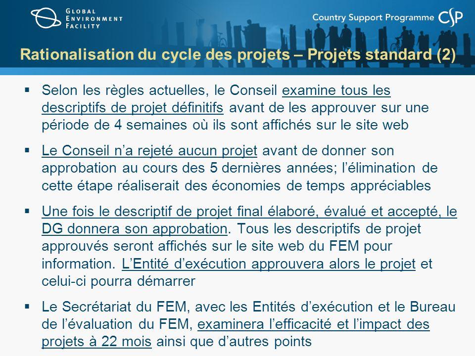 Rationalisation du cycle des projets – Projets standard (2)