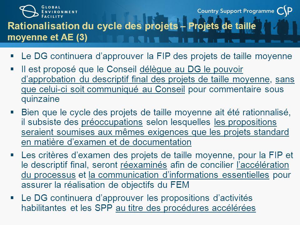 Rationalisation du cycle des projets – Projets de taille moyenne et AE (3)