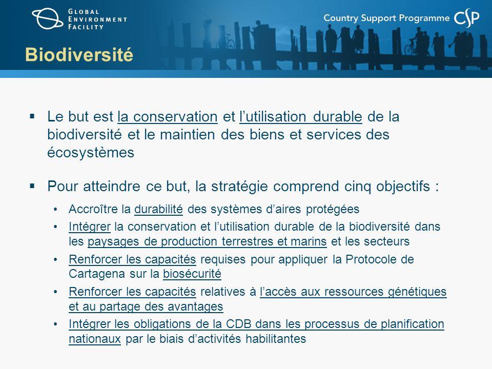 Biodiversité Le but est la conservation et l'utilisation durable de la biodiversité et le maintien des biens et services des écosystèmes.