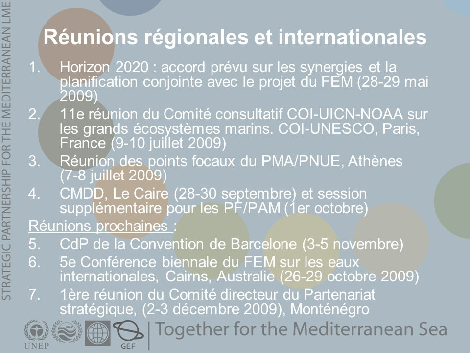 Réunions régionales et internationales