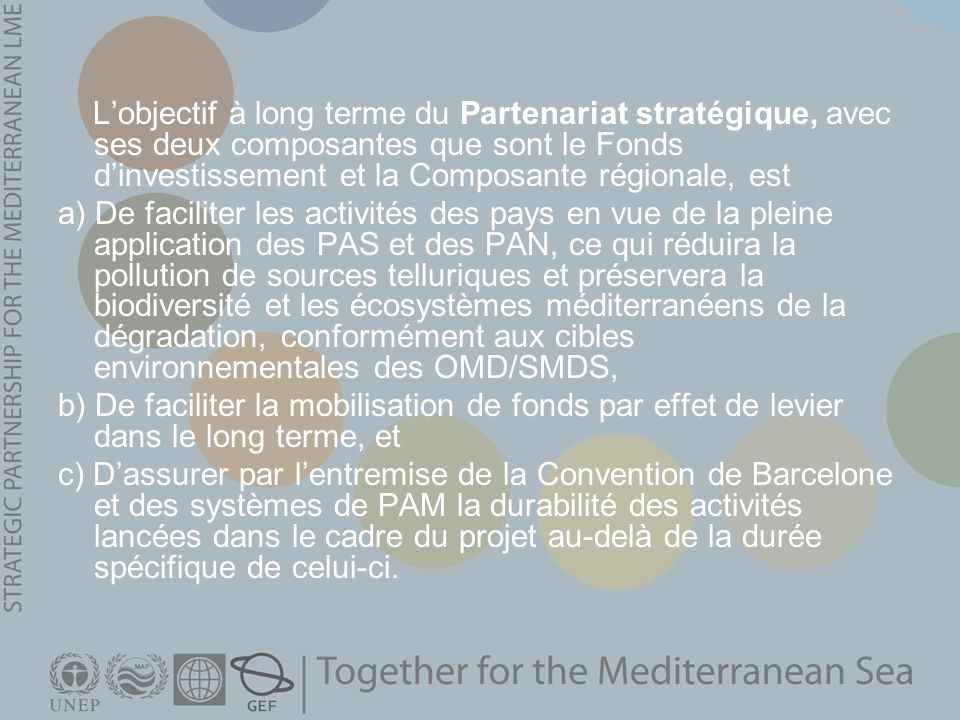 L'objectif à long terme du Partenariat stratégique, avec ses deux composantes que sont le Fonds d'investissement et la Composante régionale, est