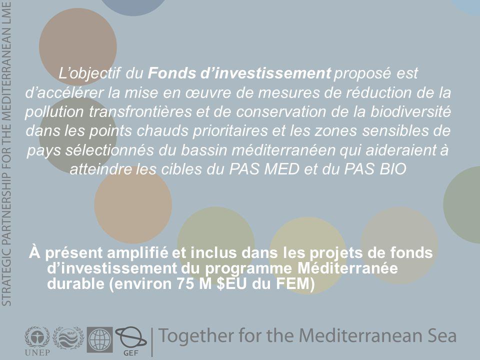 L'objectif du Fonds d'investissement proposé est d'accélérer la mise en œuvre de mesures de réduction de la pollution transfrontières et de conservation de la biodiversité dans les points chauds prioritaires et les zones sensibles de pays sélectionnés du bassin méditerranéen qui aideraient à atteindre les cibles du PAS MED et du PAS BIO