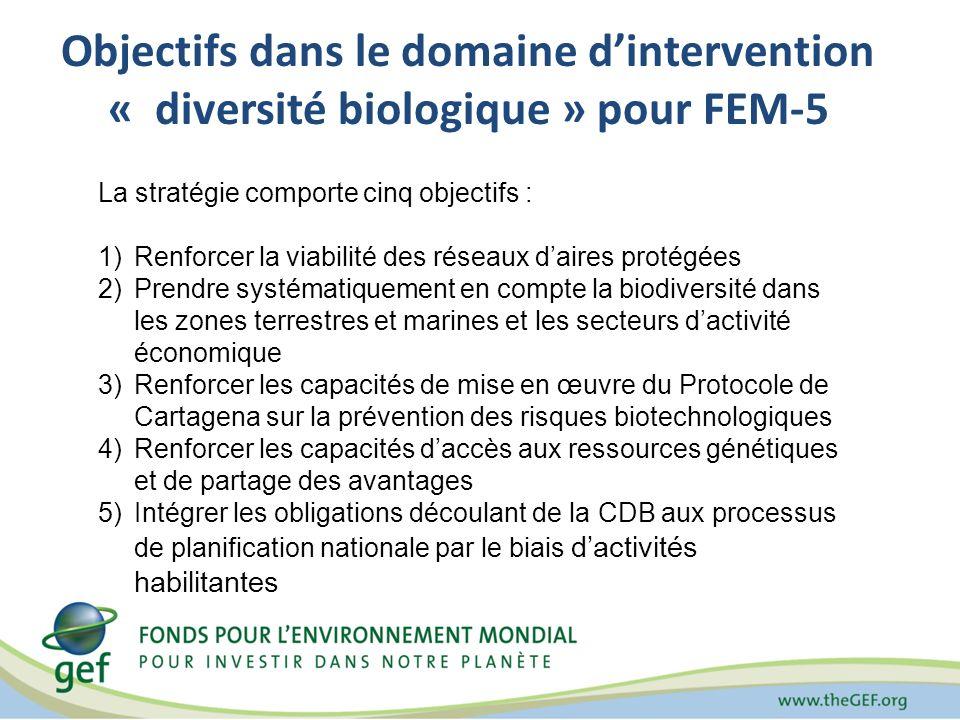 Objectifs dans le domaine d'intervention « diversité biologique » pour FEM-5