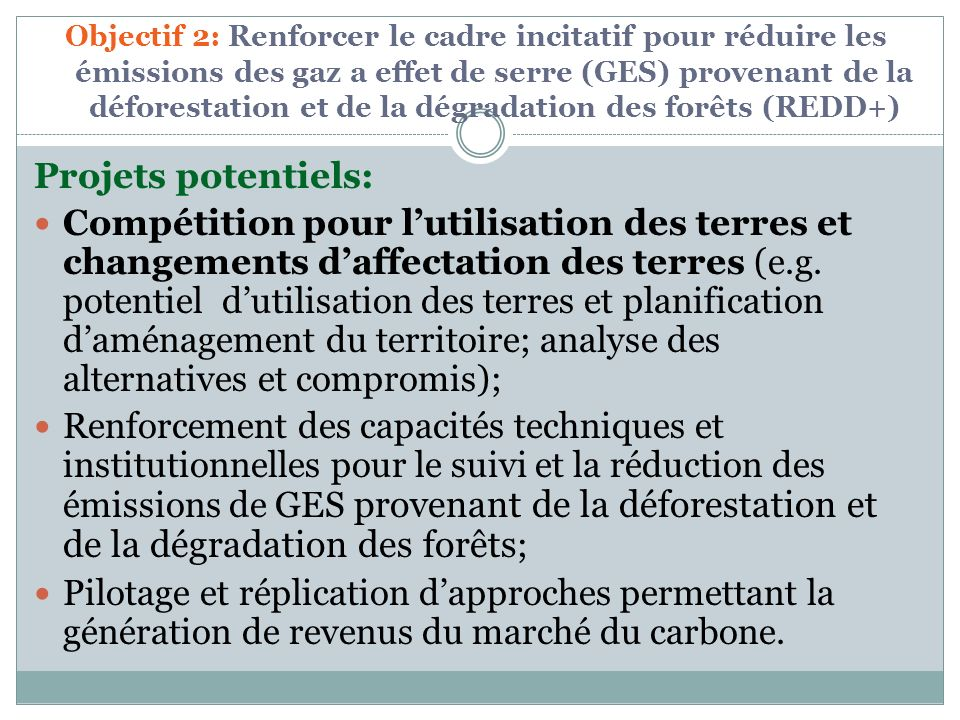 Objectif 2: Renforcer le cadre incitatif pour réduire les émissions des gaz a effet de serre (GES) provenant de la déforestation et de la dégradation des forêts (REDD+)