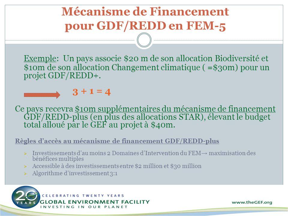 Mécanisme de Financement pour GDF/REDD en FEM-5