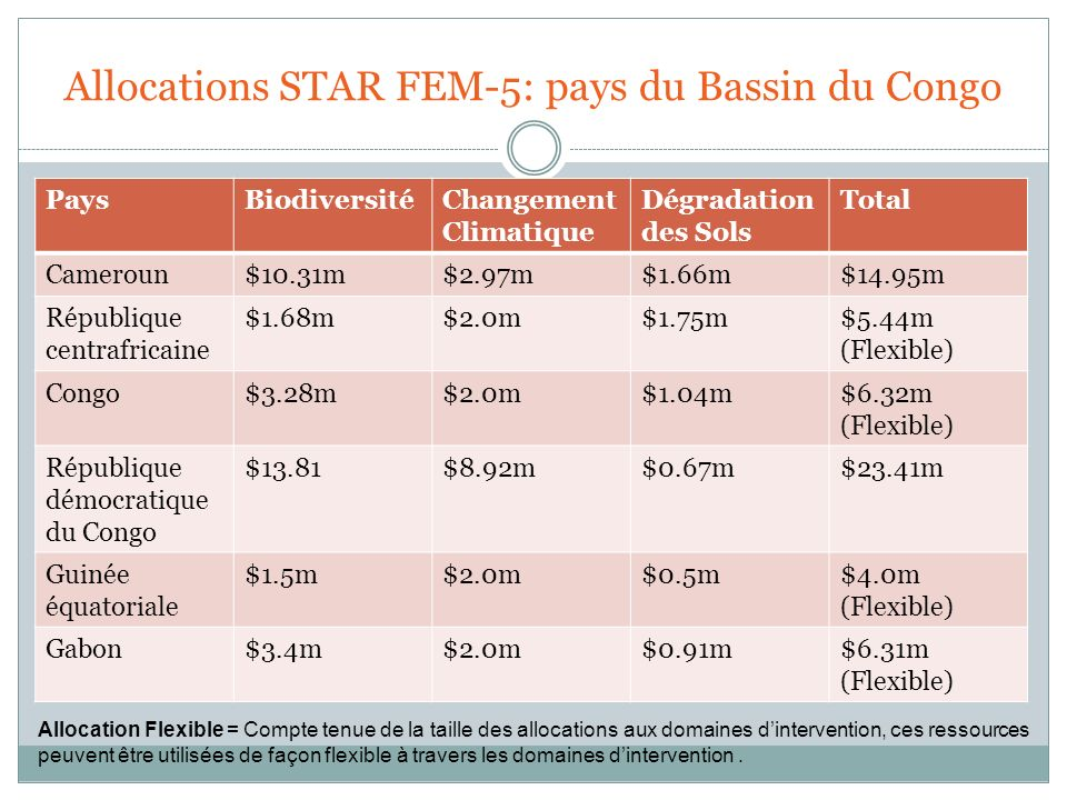 Allocations STAR FEM-5: pays du Bassin du Congo