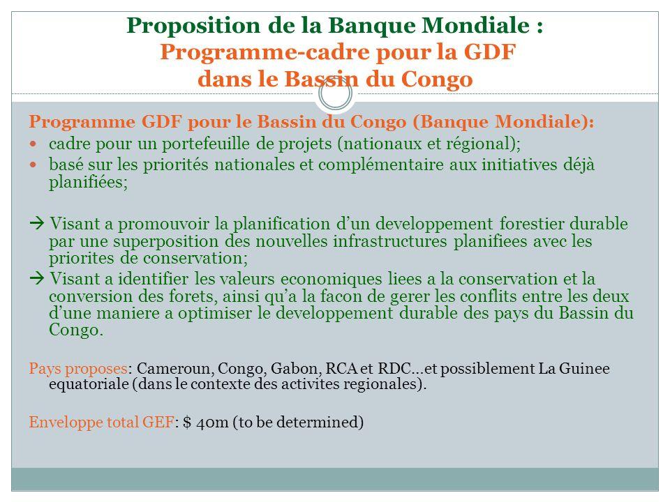 Proposition de la Banque Mondiale : Programme-cadre pour la GDF dans le Bassin du Congo