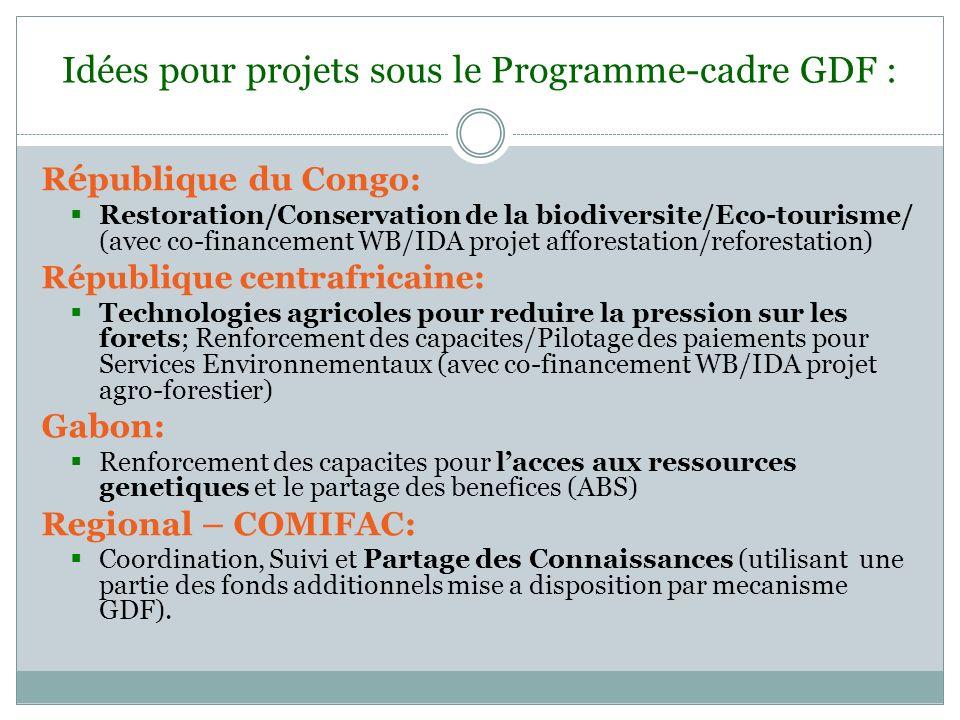 Idées pour projets sous le Programme-cadre GDF :