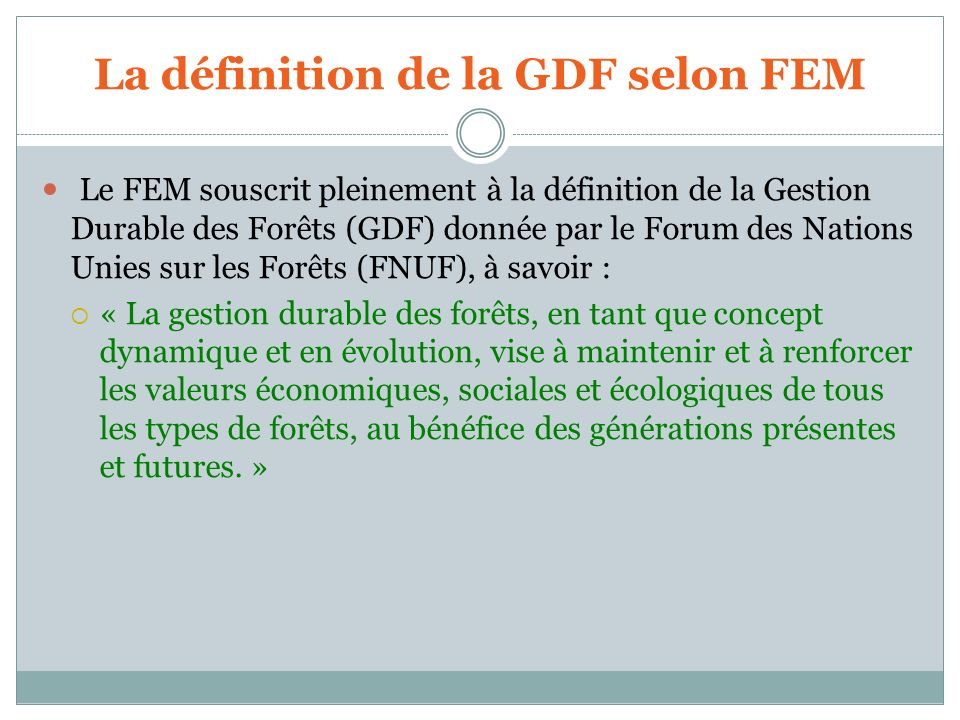 La définition de la GDF selon FEM