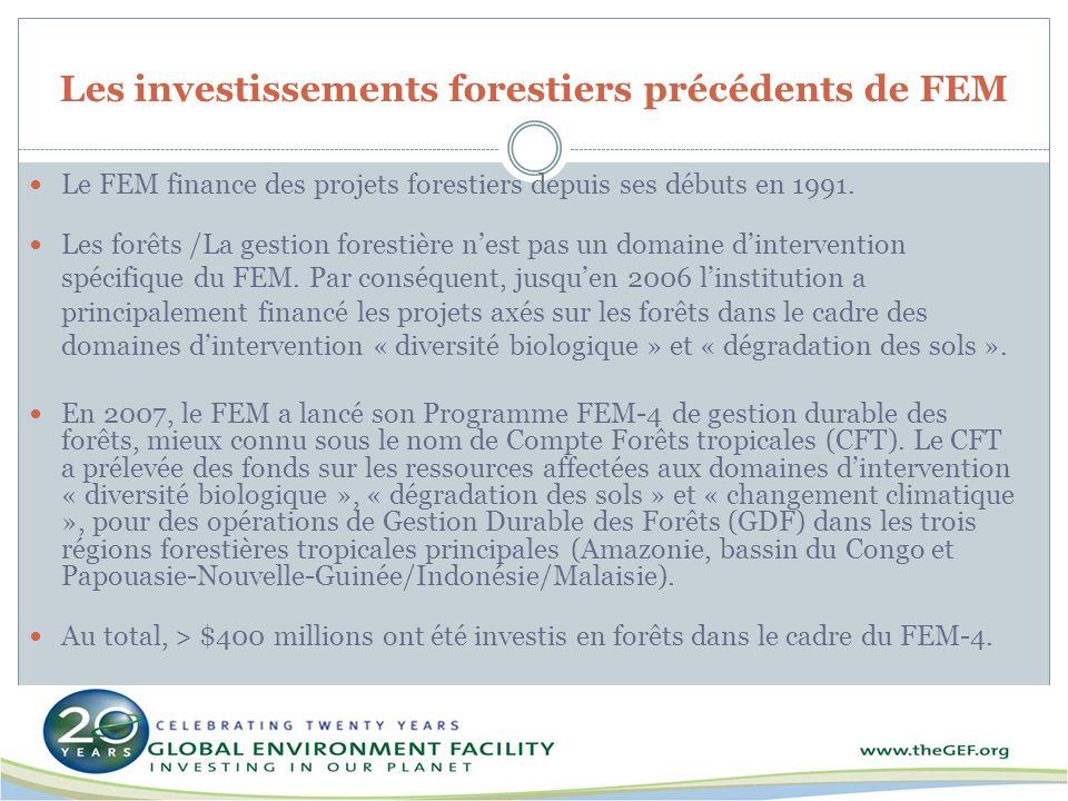 Les investissements forestiers précédents de FEM