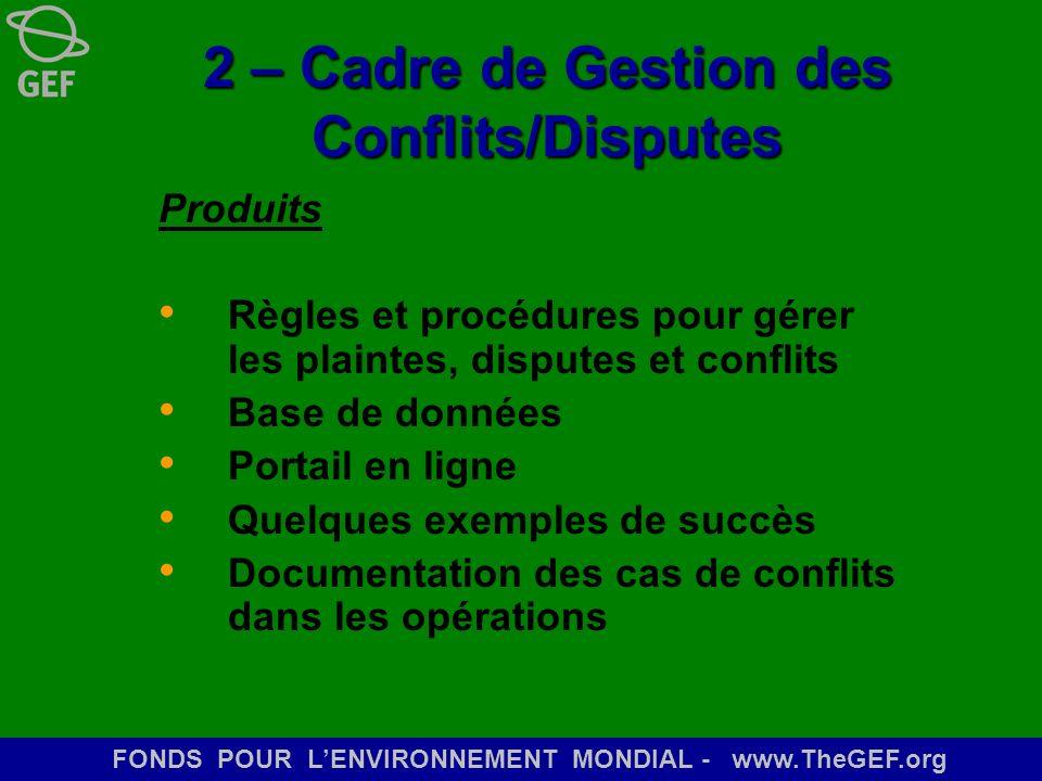 2 – Cadre de Gestion des Conflits/Disputes
