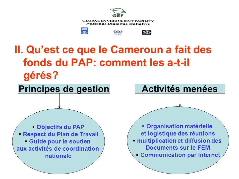II. Qu'est ce que le Cameroun a fait des fonds du PAP: comment les a-t-il gérés