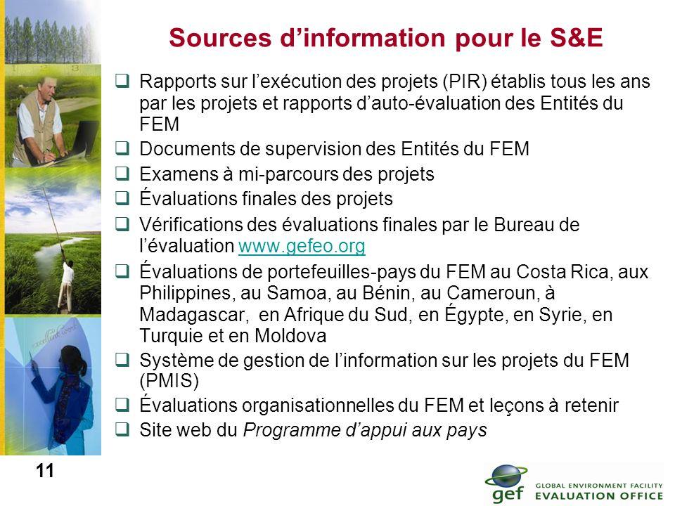 Sources d'information pour le S&E