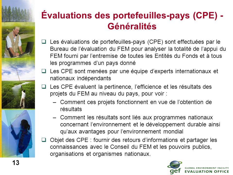 Évaluations des portefeuilles-pays (CPE) - Généralités