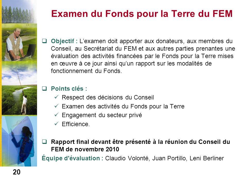 Examen du Fonds pour la Terre du FEM