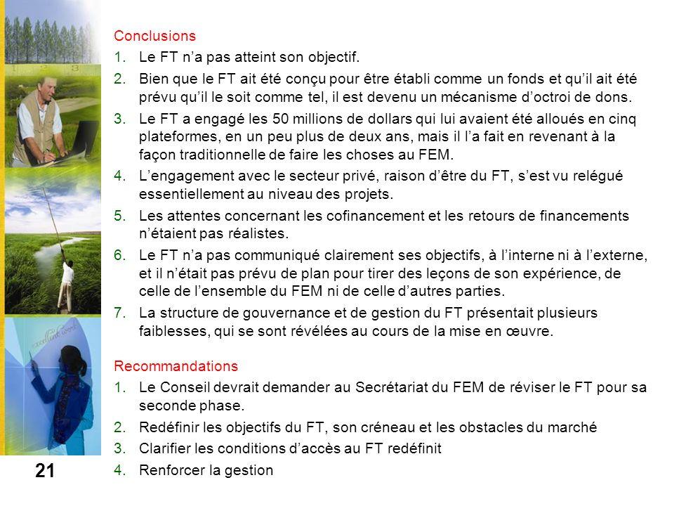 Conclusions Le FT n'a pas atteint son objectif.