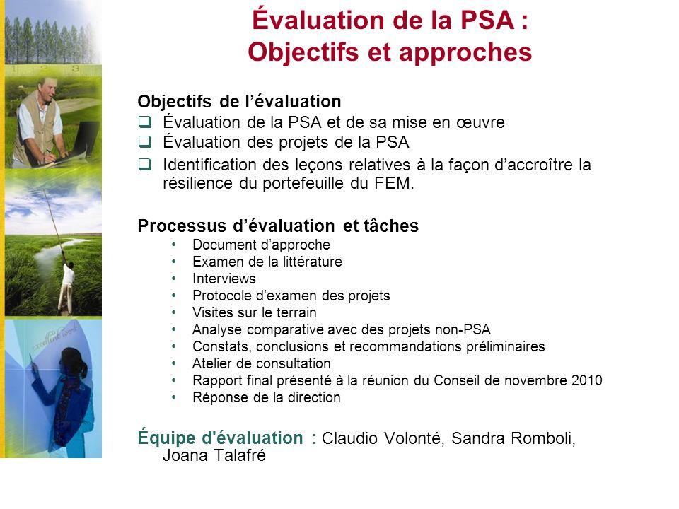 Évaluation de la PSA : Objectifs et approches