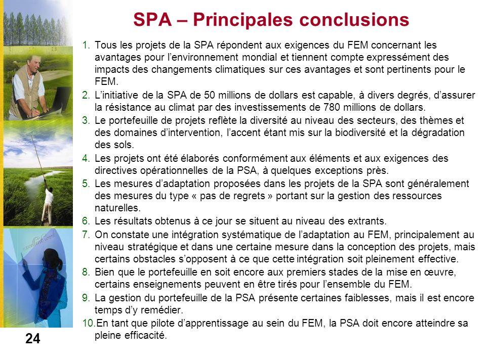 SPA – Principales conclusions
