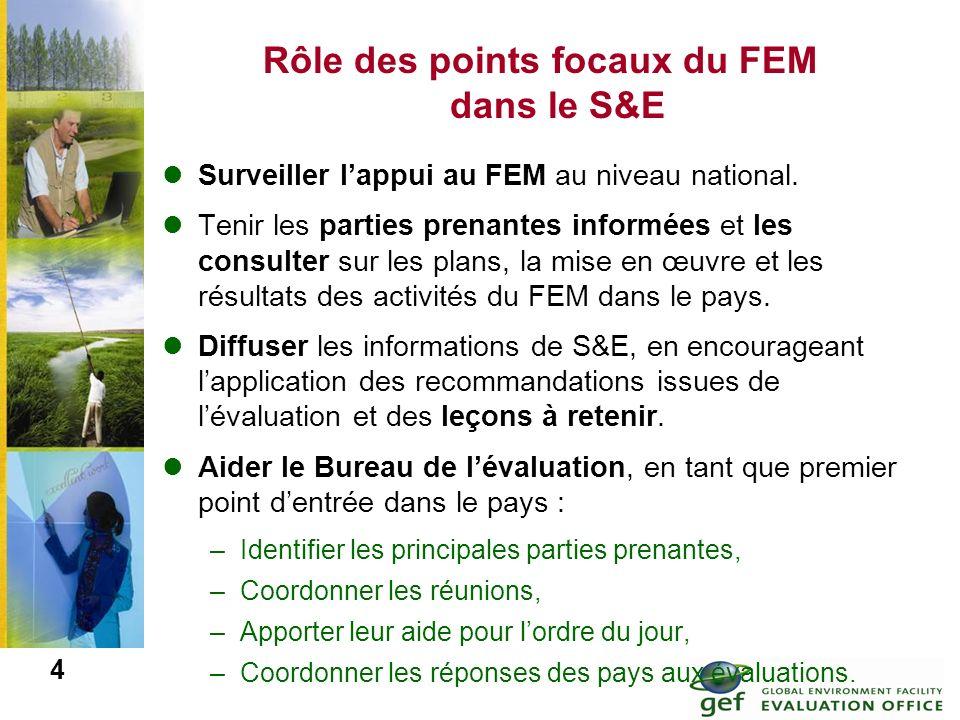 Rôle des points focaux du FEM dans le S&E