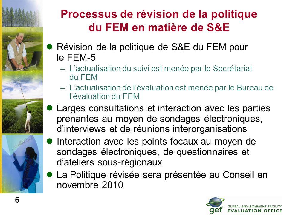 Processus de révision de la politique du FEM en matière de S&E
