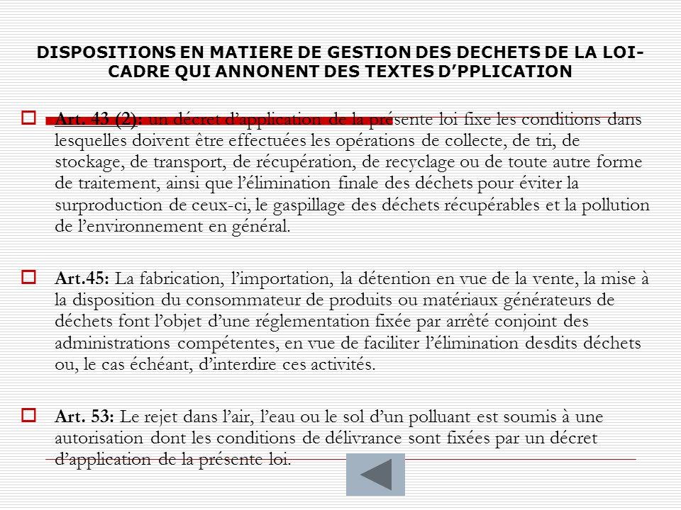 DISPOSITIONS EN MATIERE DE GESTION DES DECHETS DE LA LOI-CADRE QUI ANNONENT DES TEXTES D'PPLICATION