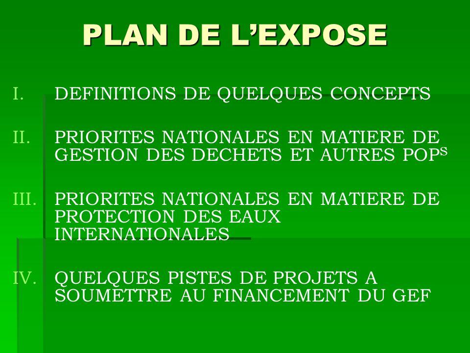 PLAN DE L'EXPOSE DEFINITIONS DE QUELQUES CONCEPTS