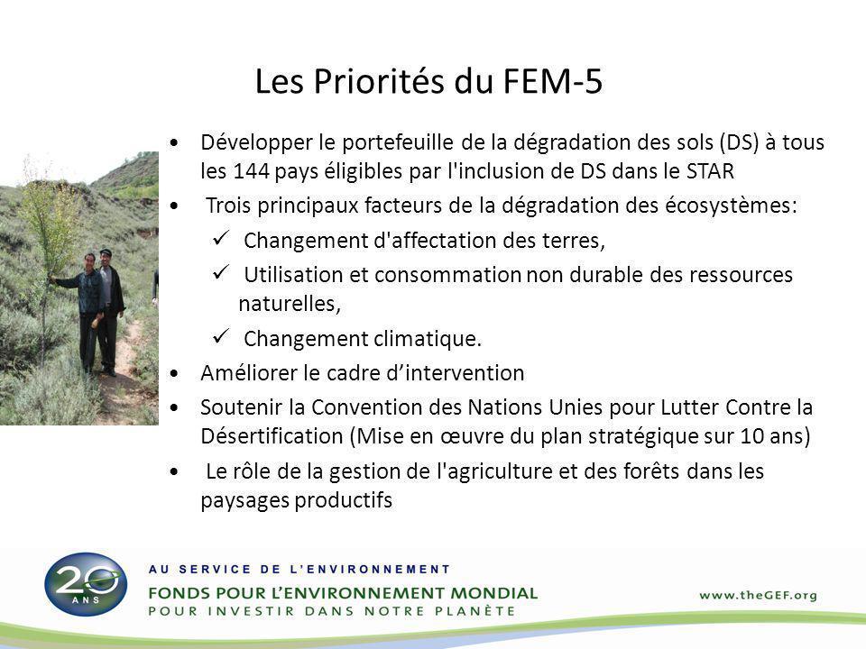 Les Priorités du FEM-5 Développer le portefeuille de la dégradation des sols (DS) à tous les 144 pays éligibles par l inclusion de DS dans le STAR.