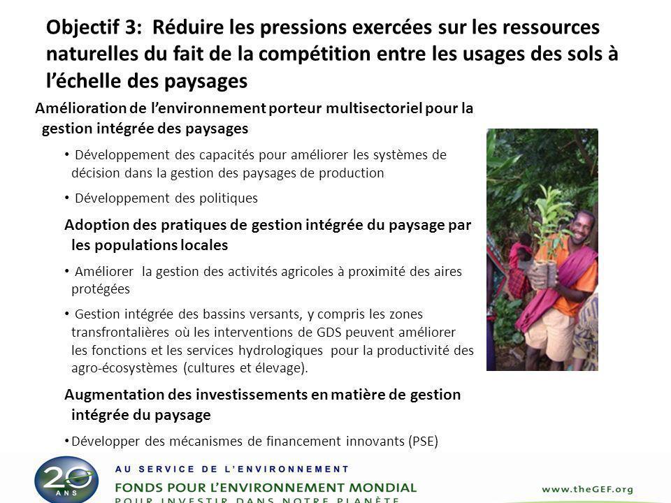 Objectif 3: Réduire les pressions exercées sur les ressources naturelles du fait de la compétition entre les usages des sols à l'échelle des paysages