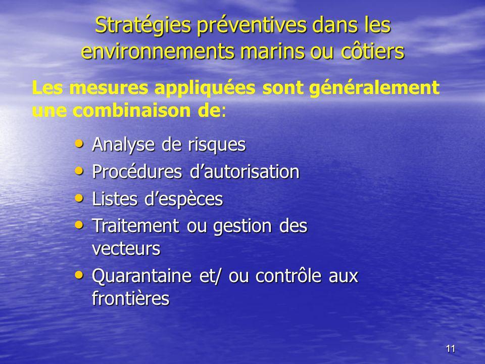 Stratégies préventives dans les environnements marins ou côtiers
