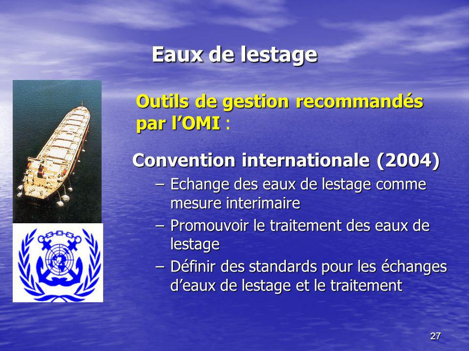 Eaux de lestage Outils de gestion recommandés par l'OMI :